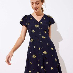 LOFT Floral Button Front Flare Dress Black 8